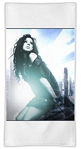 Christina Aguilera Beautiful Asciugamano in microfibra MicroFiber Towel W/ Custom Printed Designs| Eco-Friendly Material| Machine Washable| 50x100 cm | Premium Bathroom Supplies By 50x100 cm Hamerson