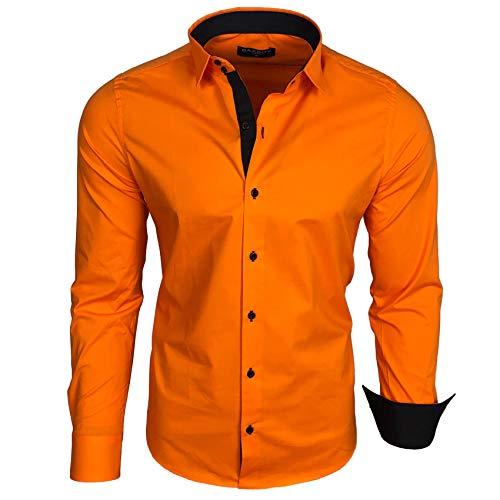 Baxboy Herren-Hemd Langarm/Business Freizeit Hochzeit/Bügelleicht/Slim-Fit/Anzug Kentkragen Hemd B-500, Größen:L, Farbe:Orange_1