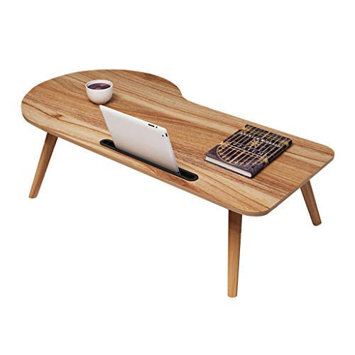 GWM Faltender Laptop-Tisch-tragbarer Bogen-Entwurf mit Tablette-Telefon-Nut großer fauler lernender Schreibtisch, der kleinen Schreibtisch lernt (Farbe : Eiche, größe : 38x90x34cm) -