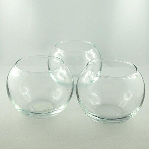 3 Glas Kugelvasen Klar Windlicht und Vasen. Durchmesser 9,5cm, Höhe 8cm. 3 Stück
