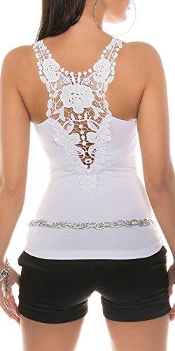 Débardeur Sexy été KouCla Embroidery. UK 8 EU 36/38/10. Blanc - Blanc