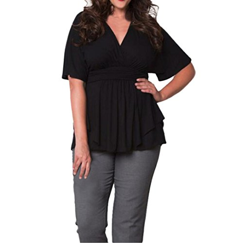 LILICAT Damen Lose T-Shirt Plus Size Casual Bluse V-Ausschnitt 3/4-Arm Chic Top Frauen Mode Oberteile Freizeit Tunika Große Größe (XXXL, Schwarz) (Schmetterling Gestickt-bh)