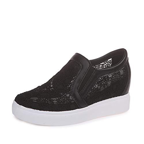 Schwarz-keil-bogen (Fzitimx Damen-Sandalen, modisch, erhöht, atmungsaktiv, hohl, flache Schuhe, Plateauboden mit Keilabsatz 36 schwarz)