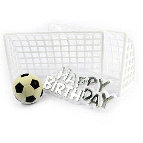 """Kuchendeko Fußballtor \""""Happy Birthday\"""" 4-tlg."""
