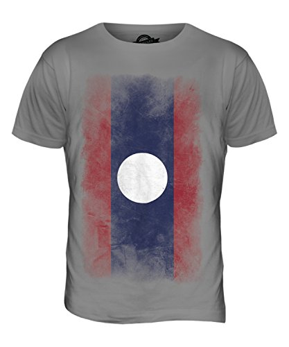 CandyMix Laos Verblichen Flagge Herren T Shirt Hellgrau