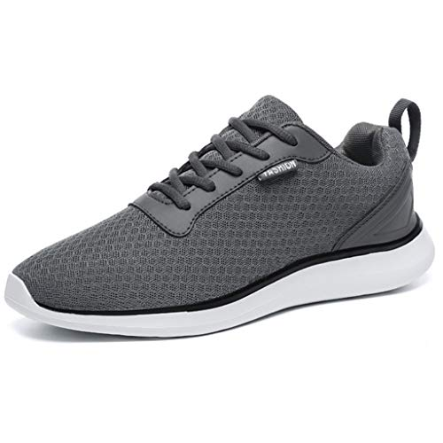 BaiMoJia Herren Leichte Laufschuhe Atmungsaktiv Mesh Turnschuhe Schnüren Fitnessschuhe Sneaker, Grau, 46 EU (Etikettengröße: 47)