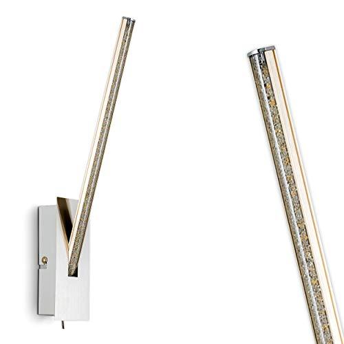 LED Wandlampe Abisko, Wandleuchte aus Metall in Nickel-matt, 1 x 6 Watt, 510 Lumen, Lichtfarbe 3000 Kelvin (warmweiß), mit Glitzer-Effekt und An-/Ausschalter am Gehäuse -