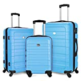 "Fochier Bagaglio espandibile 3 pezzi Set Hardshell leggero con lucchetto TSA (20""24"" 28"") Cielo blu"