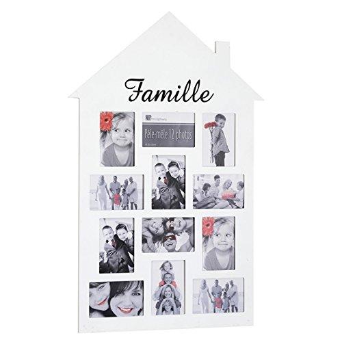 Pêle-mêle 12 photos - Cadre multi photos en forme de maison - Noir