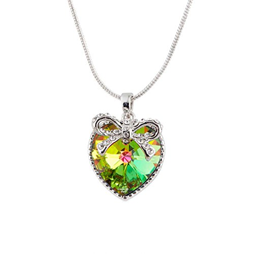 Mahi Valentine Gift with Swarovski Crystal Vitrail Medium Heart with Bow Pendant for Women and Girls PS1194313R