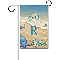 Asekngvo Welcome Summer Beach with Flip Flop and Seastar Letter Garden Flag Monogram M Print One Side F6