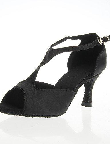 La mode moderne femmes Sandales Chaussures de danse de bal Haut Satin Peep Toe Chaussures latine Black