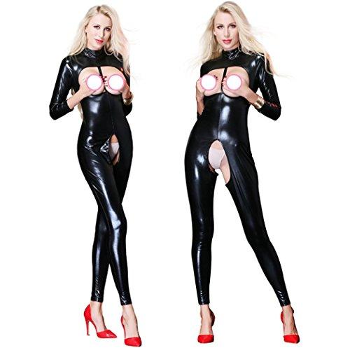 Duuozy Frauen Öffnen Cup Crunchless Clubwear Overall Sexy Metallic Wet Look Kunstleder Langarm Catsuit,Black1,M
