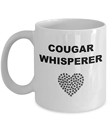 Cougar Coffee Mug Whisperer Cup Funny Best Big Cat Lover or Age Difference Relationship Gift Paw Print Heart (Print Paw Cougar)
