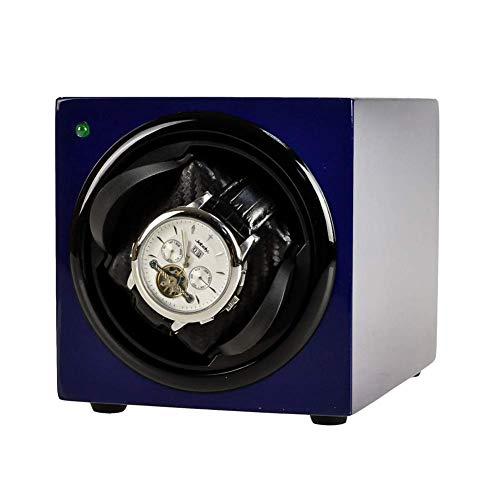 KYCD Single Uhrenbeweger, Uhrenbeweger für Automatikuhren, Uhrenbeweger Box Uhrenbox Halter Vitrine, Batteriebetrieben Oder AC Adapter,Blau (Antike Taschenuhr-vitrine)
