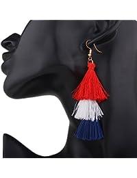 Zantec Elegantes borlas de múltiples capas de Bohemia coloridas de las mujeres Pendientes étnicas de los pendientes largos de las gotas de los oídos étnicos