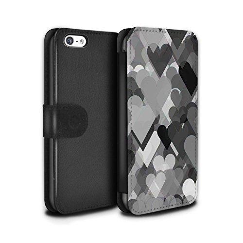 Stuff4 Coque/Etui/Housse Cuir PU Case/Cover pour Apple iPhone 5C / Coeurs Transparents Design / Mode Noir Collection Coeurs Transparents