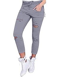 Damen Jeans Hose Weiß Skinny Harem Ripped Knopfleiste 30 32 34 36 38 2XS XS S M