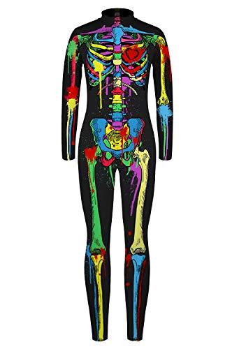 URVIP Jungen Mädchen Halloween Unheimlich Gespenstisc Skelett Jumpsuit Ganzkörperanzug Karneval Verkleidungsparty Cosplay Kostüm Overalls BJQ-007 M (2019 Halloween Trends Kostüm)