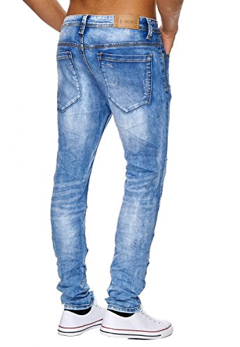 Herren Jeans · (Regular Fit) Denim Hose aus Stretch Material mit leichter Waschung (Acid Washed) und geradem Bein (Straight Leg) Destroyed mit Rissen · H1818 in Markenqualität Hellblau