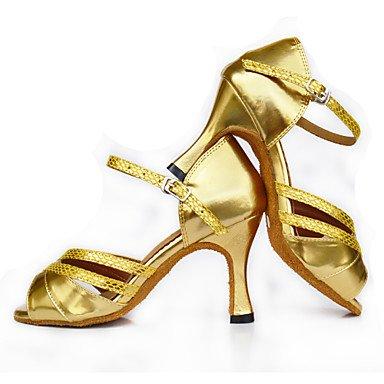 Scarpe da ballo-Personalizzabile-Da donna-Balli latino-americani-Tacco a rocchetto-Raso-Dorato Gold
