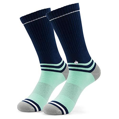Original Mint Blue | J.Clay Premium Tennissocken, Blaue Retro Socken mit Streifen, JClay Bunte Socken Old School Damen & Herren Sportsocken (43-46) Größen M 39-42