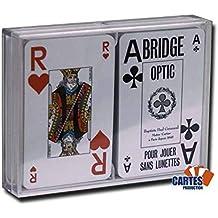 Coffret 2 jeux de 52 cartes Bridge optic bleu et rouge Index   2 jumbo a4fe0d6a43c1