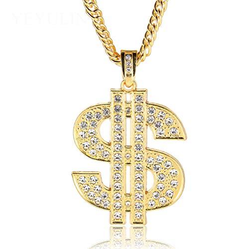 WANZIJING Halsketten für Herren, Mode Gold Dollar Strass Anhänger Legierung Hip Hop kubanischen Kette Schmuck für Vatertagsgeschenk