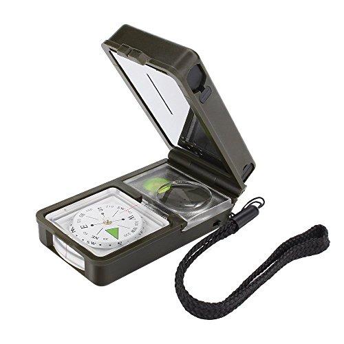 Tsumbay 10 in 1 Survival Kit Multifunktionsutensilien Camping Utensilien Multifunktion Kompass Thermometer Hygrometer Kompass Wasserwaage Lupe Pfeife Feuerstein Lineal LED Spiegel
