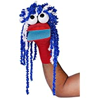 Pout Handmade T.T Ball, Feathers Wool Hand Puppets Sock Puppet | Red & Blue