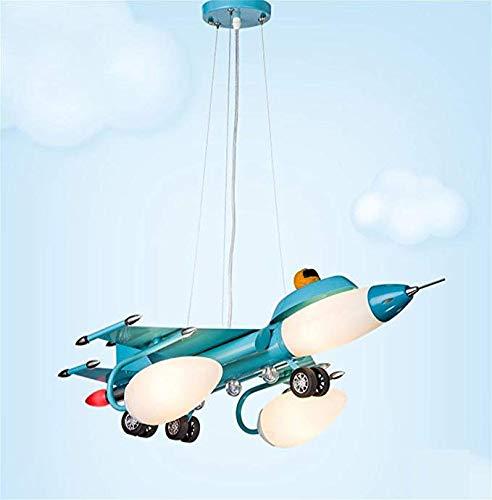FTFTFTF Kronleuchter, Kinder Cartoon LED Deckenleuchte blau Flugzeug Kronleuchter Kinderzimmer Schlafzimmer Lampe Junge Zimmer Lampe Cartoon kreative LED-Lampe,1