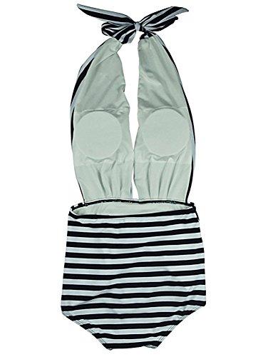 BLZ Costumi da Bagno Donna Intero a Righe Mare Halter Vita Alta Abito Spiaggia Monokini Sexy Vintage 3 spesavip