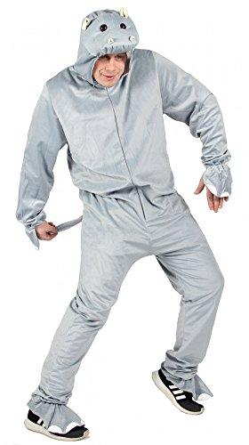 Foxxeo Hippo Nilpferd Kostüm Grauer Overall für Erwachsene Tierkostüm Damen Herren Fasching Karneval Größe (Hippo Kostüm)