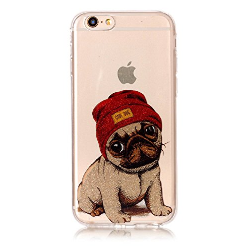 iPhone 6 Plus / 6S Plus Hülle, Chreey Glitzer Muster Transparent Handyhülle Niedlich Mode Süß Temperament Weiche TPU Silikonhülle Case Ultra Dünn Kratzfest Durchsichtige Hülle Backcover [Cool Dog]