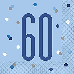 Unique Party- Servilletas de papel, Color blue & silver (83560)