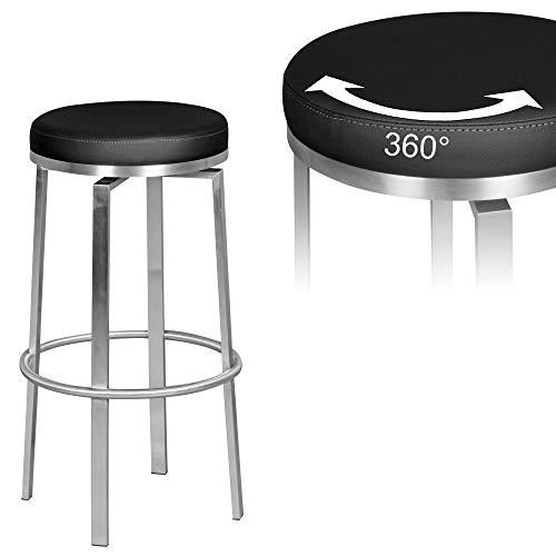 FineBuy Barhocker FB4823 Schwarz 42x76x42 cm Edelstahl Barstuhl 360° Drehbar | Thekenhocker Barsitz Gepolstert | Design Tresenstuhl Modern | Bistrohocker Hoch | Hoher Hocker für Bar - Hohe Bar Hocker