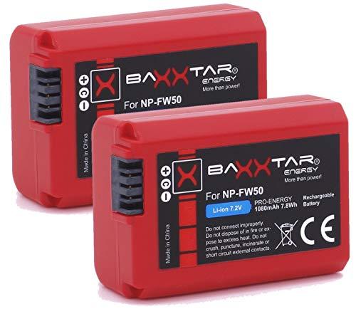 2X BAXXTAR Pro-Energy Batería Calidad para Sony NP-FW50 (1080mAh Real) con la información de la viruta - Sistema de batería Inteligente - 100% Compatible última generación