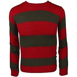 Jersey de punto a rayas para disfraz, para adultos y niños multicolor Red/Green Jumper mediano
