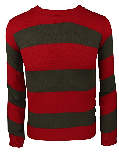 Jersey de punto a rayas para disfraz, para adultos y niños multicolor Red/Green Jumper small