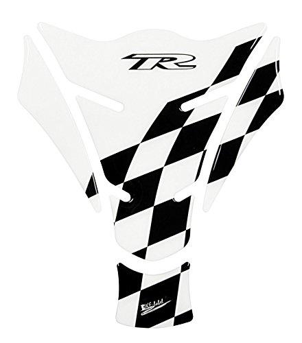 Tankpad 3D - Racing Flag - Transparent / Black - lässt den Lack teilweise klar durchscheinen - 501305 - universell für Yamaha, Honda, Ducati, Suzuki, Kawasaki, KTM, BMW, Triumph und Aprilia Tanks