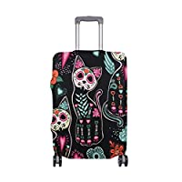 MyDaily Skull Cats Colorful Flowers Luggage Cover Fits 18-32 Inch Suitcase Spandex Travel Protector Cover Only