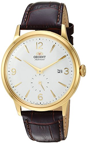 Orient Men's 'Bambino Small Seconds' Japanese Automatic Stainless Steel and Leather Dress Watch, Color:Brown (Model: RA-AP0004S10A)