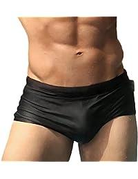 Taddle - Short corto para hombre, estilo calzoncillo, sexy, para natación y surf, color negro liso