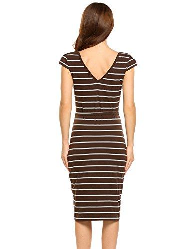 Meaneor Damen Casual Sommerkleider Gestreiftes Kleid Freizeitkleid Strandkleid Stretch Rundhals Kurzarm Knielang enges Kleid in 4 Farben Kaffee