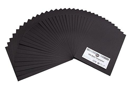 perfect ideaz 100 Blatt schwarzes A4 Ton-Papier, Tonzeichen-Papier, durchgefärbt, in schwarz, 130g/m² stark, Bastel-Bögen in hochwertiger Qualität