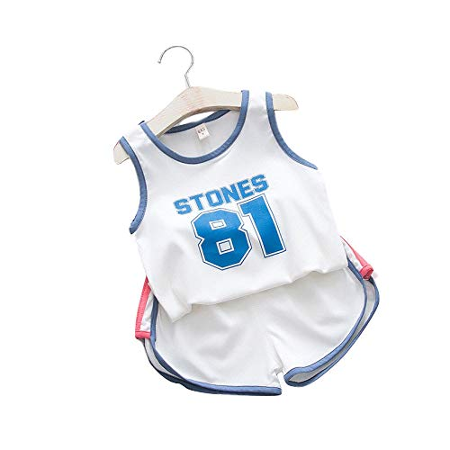 BO LU Kid Boy Basketball Jersey 2-teiliges Trägershirt Shorts Set Kleidung-Sommer Uniform,White-S
