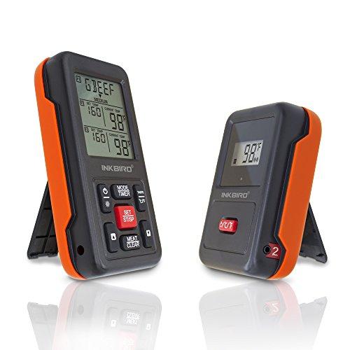 Char Broil Grill-thermometer (Inkbird IRF-2S Funk Thermometer Bratenthermometer Smoker mit 2 Temperaturfühlern für Fleisch Kochen von BBQ, Ofen, Raucher, Backen, Griller bis zu 300M)
