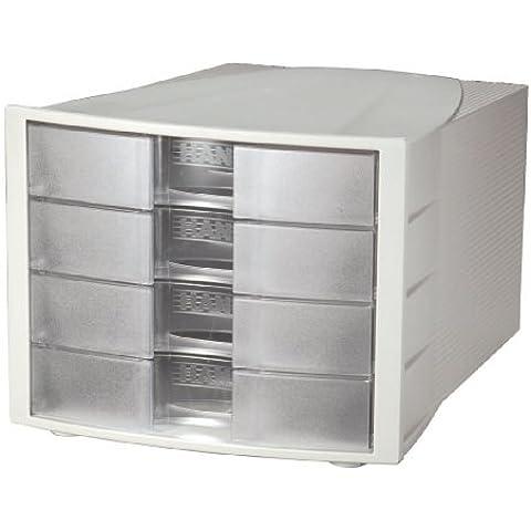 Han Impulse - Unidad de almacenamiento de escritorio (4 cajones cerrados, tamaño C4), color gris claro y