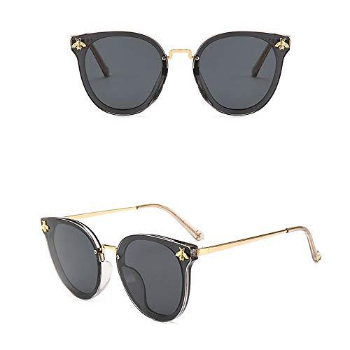 Yiph-Sunglass Sonnenbrillen Mode Frauen-Klassische Retro Designer-Art polarisierte Weinlese-runde Sonnenbrille für (Farbe : Grey Gold Frame/Black)