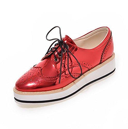AgooLar Femme à Talon Bas Couleur Unie Lacet Verni Rond Chaussures Légeres Rouge